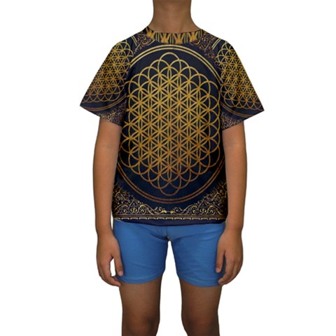 Bring Me The Horizon Cover Album Gold Kids  Short Sleeve Swimwear