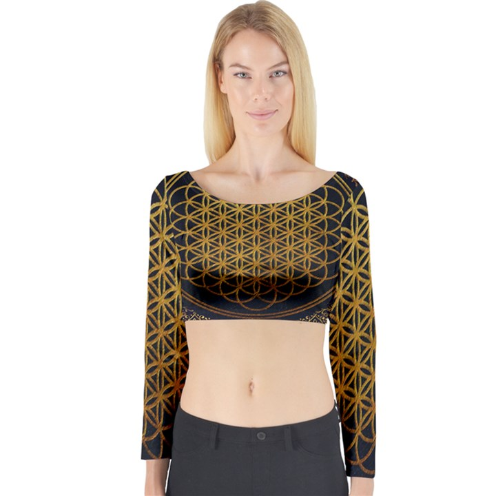 Bring Me The Horizon Cover Album Gold Long Sleeve Crop Top