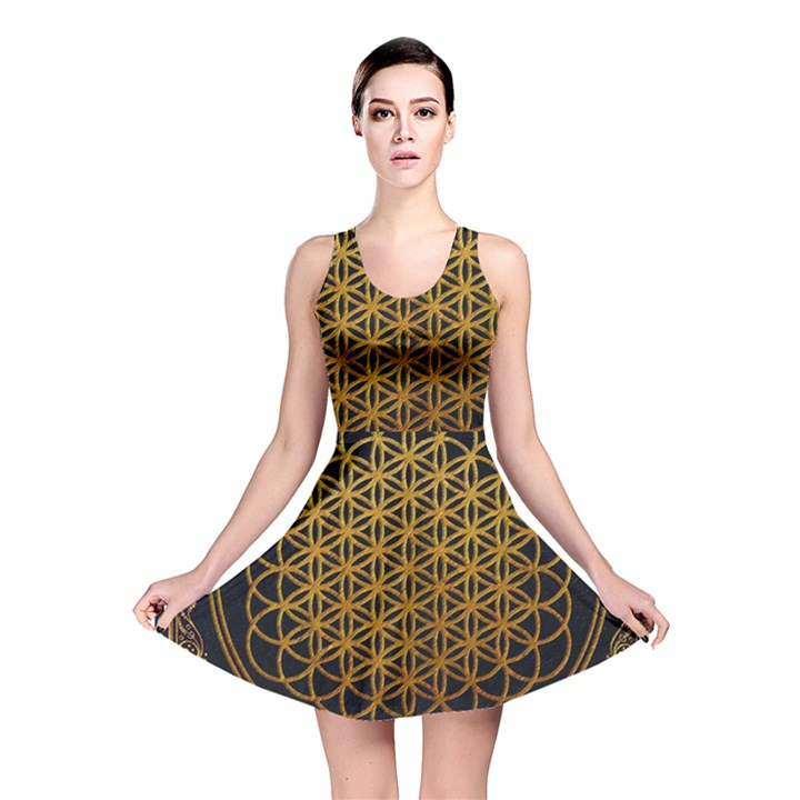 Bring Me The Horizon Cover Album Gold Reversible Skater Dress
