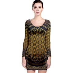 Bring Me The Horizon Cover Album Gold Long Sleeve Bodycon Dress