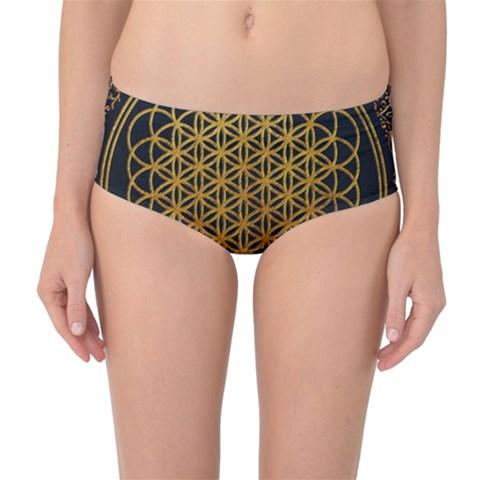 Bring Me The Horizon Cover Album Gold Mid-Waist Bikini Bottoms