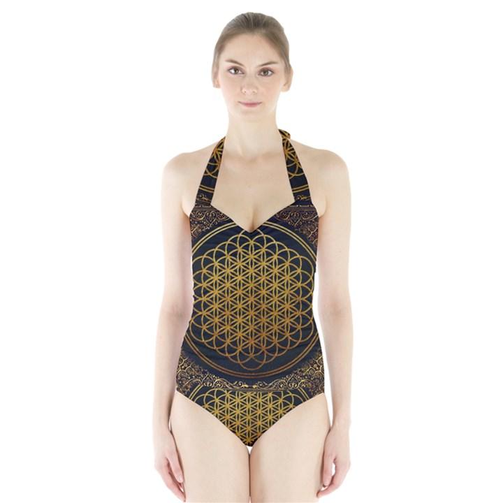 Bring Me The Horizon Cover Album Gold Halter Swimsuit