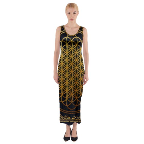 Bring Me The Horizon Cover Album Gold Fitted Maxi Dress