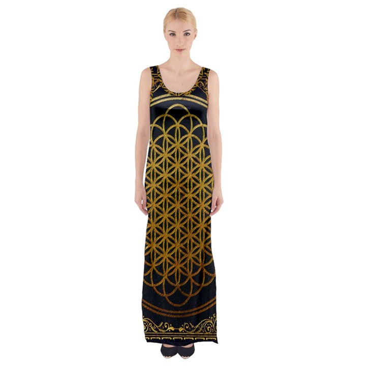Bring Me The Horizon Cover Album Gold Maxi Thigh Split Dress