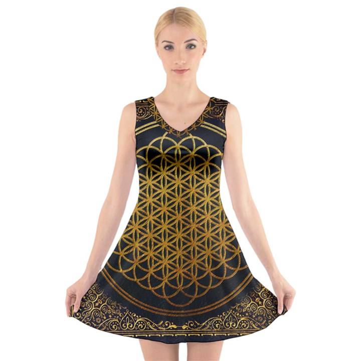 Bring Me The Horizon Cover Album Gold V-Neck Sleeveless Skater Dress