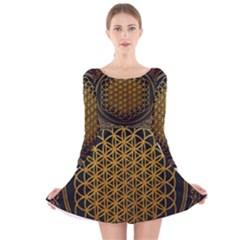 Bring Me The Horizon Cover Album Gold Long Sleeve Velvet Skater Dress