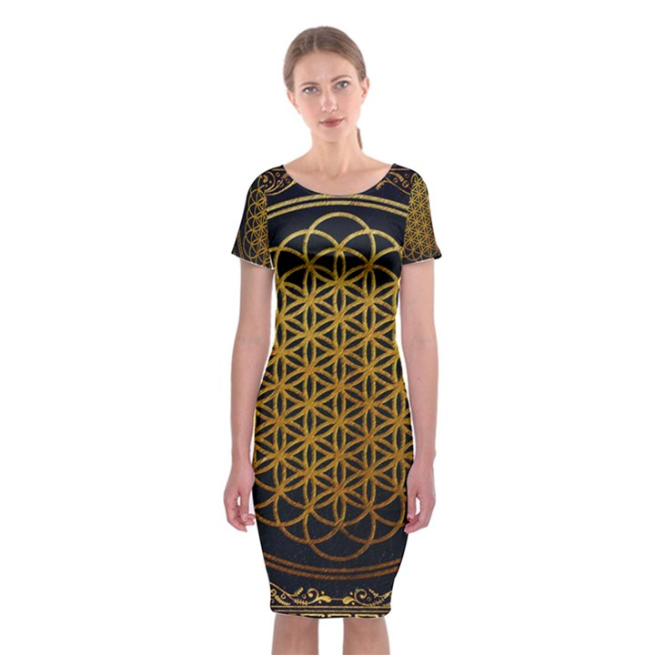 Bring Me The Horizon Cover Album Gold Classic Short Sleeve Midi Dress