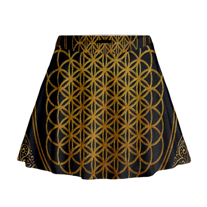 Bring Me The Horizon Cover Album Gold Mini Flare Skirt