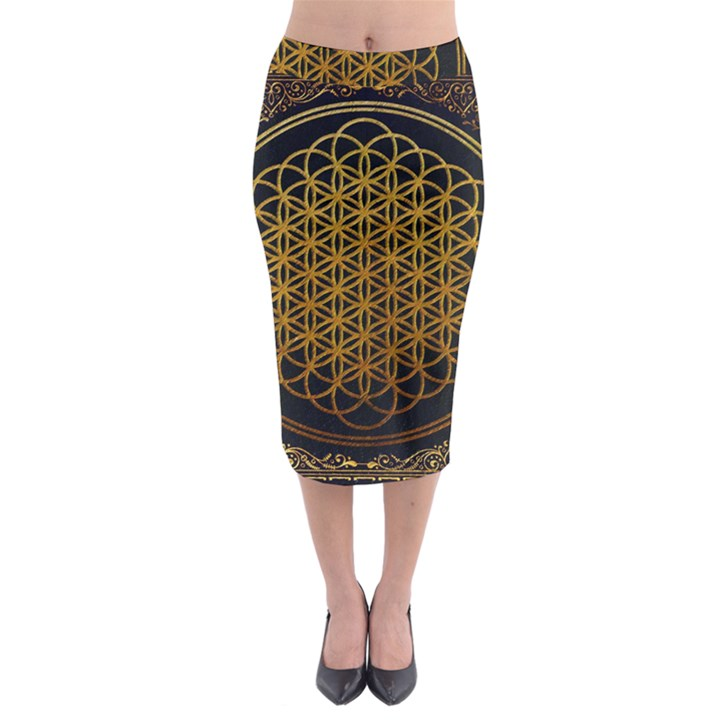 Bring Me The Horizon Cover Album Gold Midi Pencil Skirt