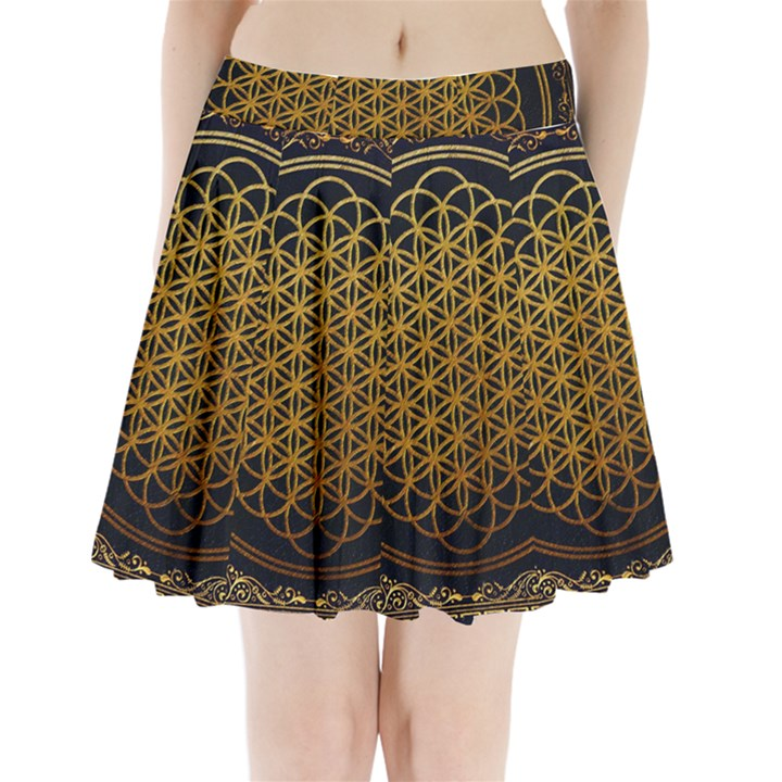 Bring Me The Horizon Cover Album Gold Pleated Mini Skirt