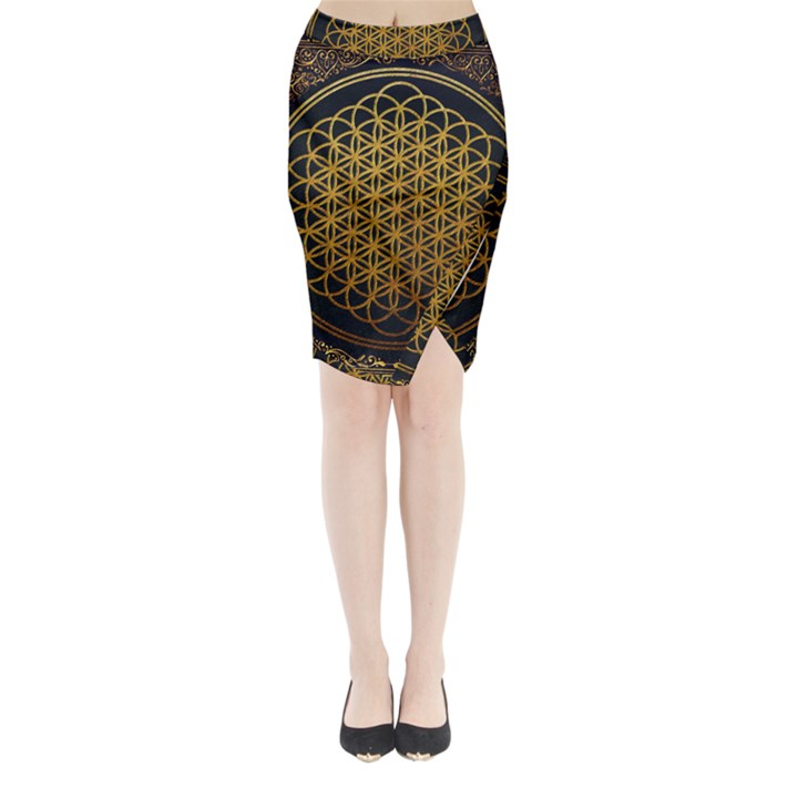 Bring Me The Horizon Cover Album Gold Midi Wrap Pencil Skirt