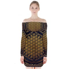 Bring Me The Horizon Cover Album Gold Long Sleeve Off Shoulder Dress