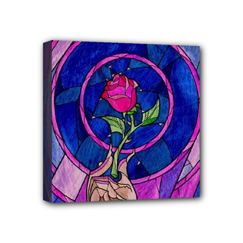 Enchanted Rose Stained Glass Mini Canvas 4  x 4
