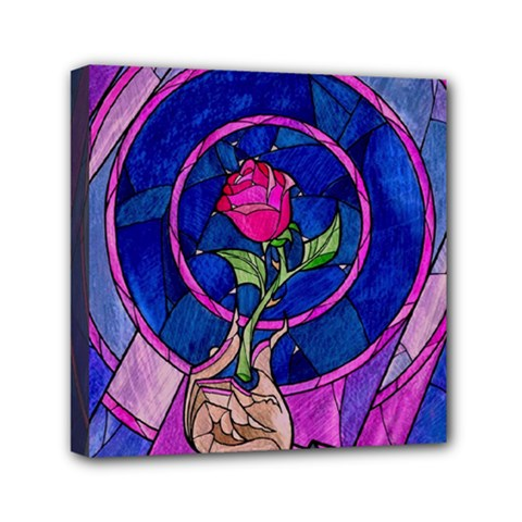 Enchanted Rose Stained Glass Mini Canvas 6  X 6
