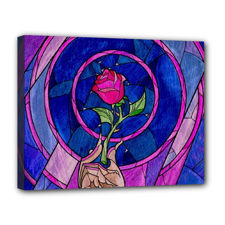 Enchanted Rose Stained Glass Canvas 14  x 11