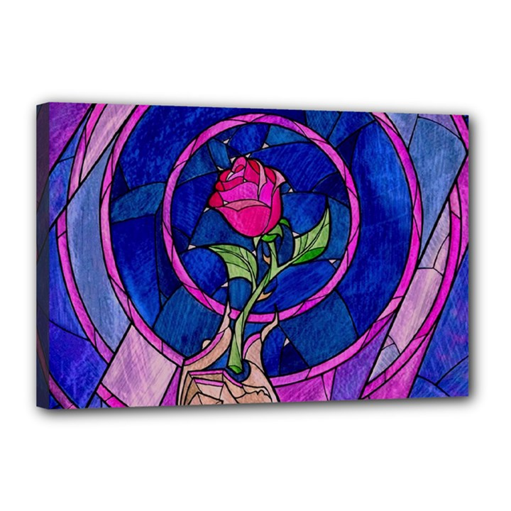 Enchanted Rose Stained Glass Canvas 18  x 12