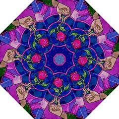 Enchanted Rose Stained Glass Folding Umbrellas