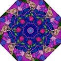 Enchanted Rose Stained Glass Folding Umbrellas View1