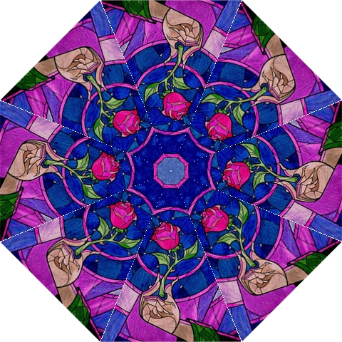 Enchanted Rose Stained Glass Golf Umbrellas