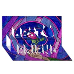 Enchanted Rose Stained Glass Best Friends 3D Greeting Card (8x4)