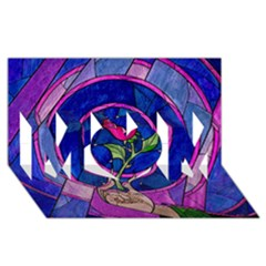 Enchanted Rose Stained Glass Mom 3d Greeting Card (8x4)