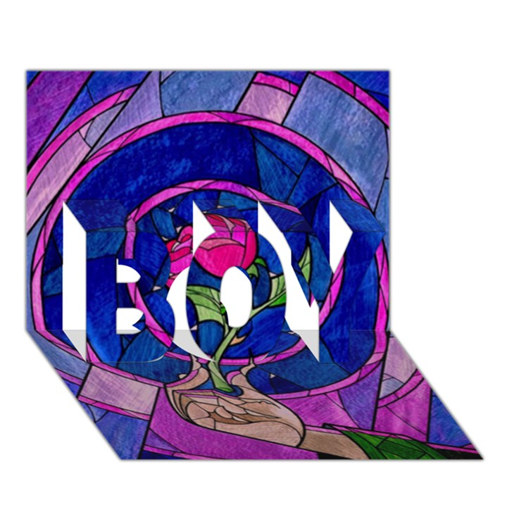 Enchanted Rose Stained Glass BOY 3D Greeting Card (7x5)