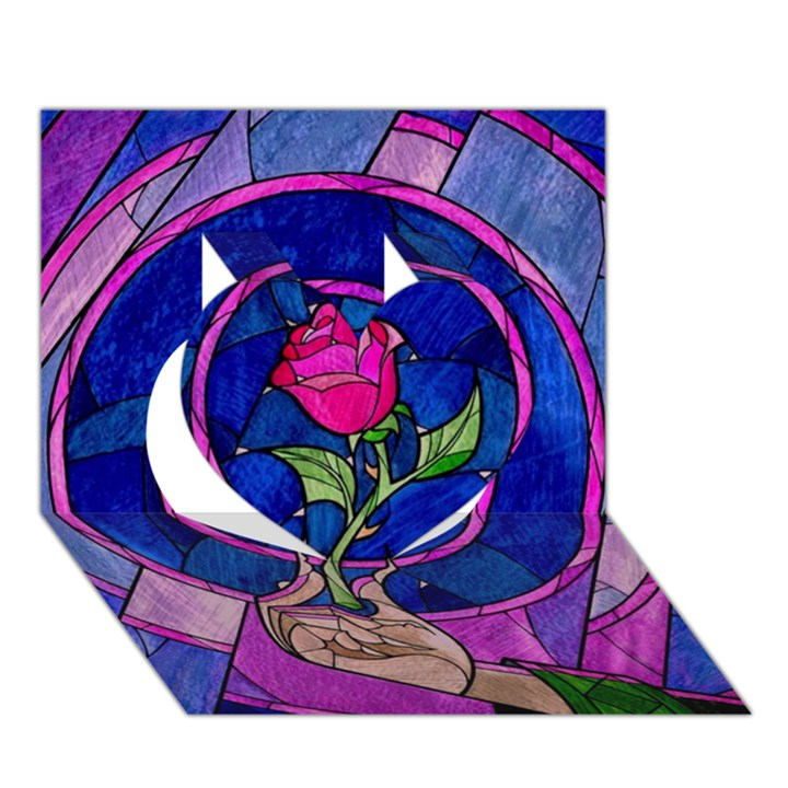 Enchanted Rose Stained Glass Heart 3D Greeting Card (7x5)
