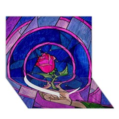 Enchanted Rose Stained Glass Heart Bottom 3d Greeting Card (7x5)