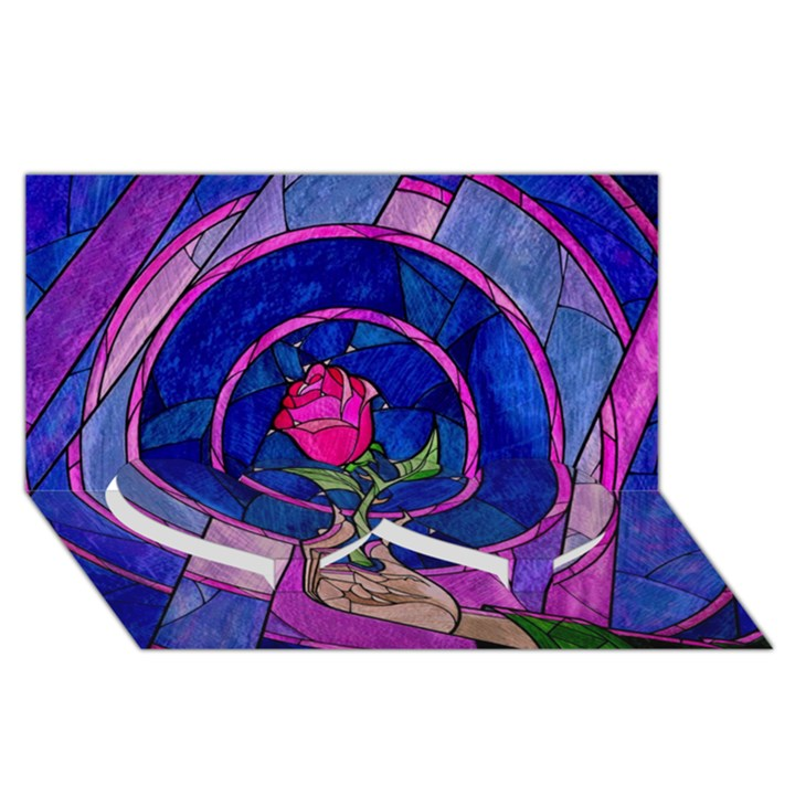 Enchanted Rose Stained Glass Twin Heart Bottom 3D Greeting Card (8x4)