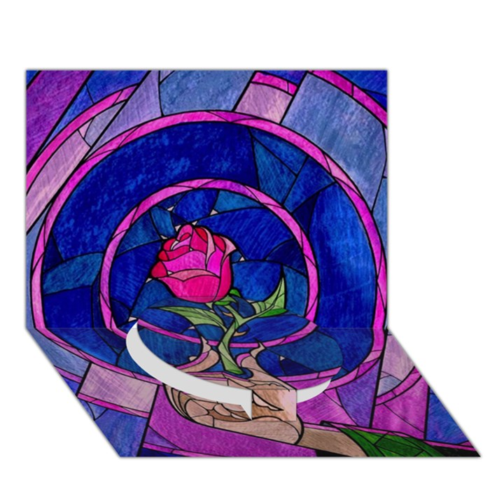 Enchanted Rose Stained Glass Circle Bottom 3D Greeting Card (7x5)