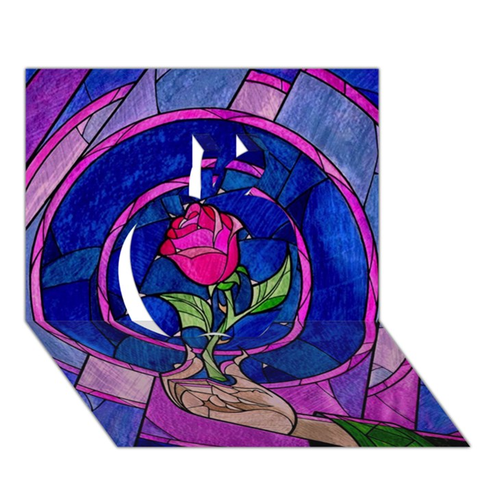 Enchanted Rose Stained Glass Apple 3D Greeting Card (7x5)