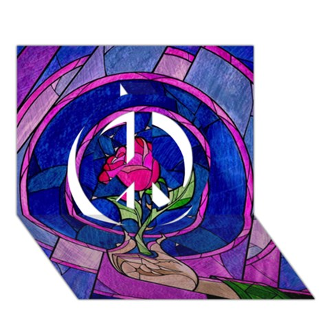 Enchanted Rose Stained Glass Peace Sign 3D Greeting Card (7x5)