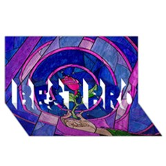 Enchanted Rose Stained Glass Best Bro 3d Greeting Card (8x4)