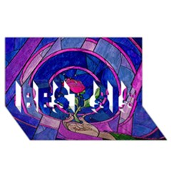 Enchanted Rose Stained Glass BEST SIS 3D Greeting Card (8x4)