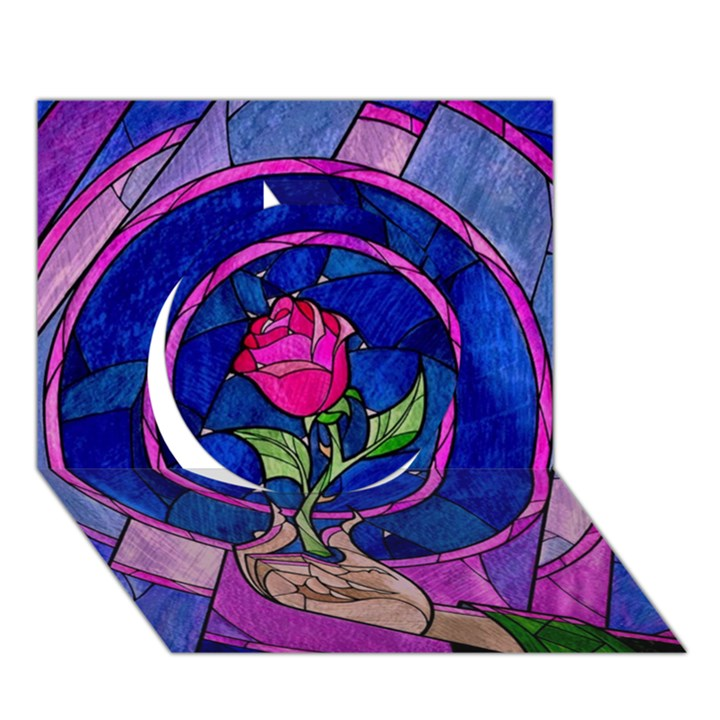 Enchanted Rose Stained Glass Circle 3D Greeting Card (7x5)