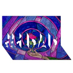 Enchanted Rose Stained Glass #1 DAD 3D Greeting Card (8x4)