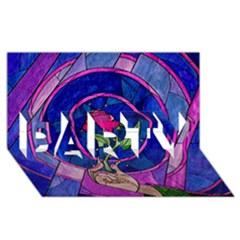 Enchanted Rose Stained Glass Party 3d Greeting Card (8x4)