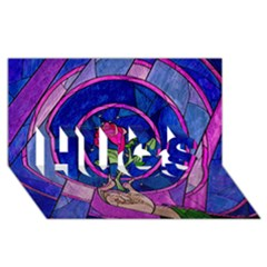 Enchanted Rose Stained Glass Hugs 3d Greeting Card (8x4)