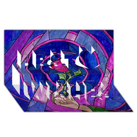 Enchanted Rose Stained Glass Best Wish 3D Greeting Card (8x4)