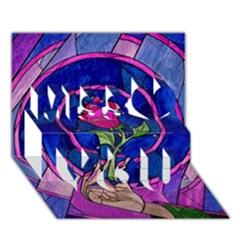 Enchanted Rose Stained Glass Miss You 3D Greeting Card (7x5)