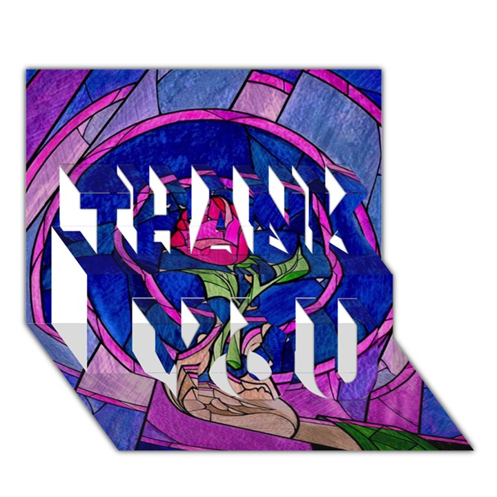 Enchanted Rose Stained Glass THANK YOU 3D Greeting Card (7x5)