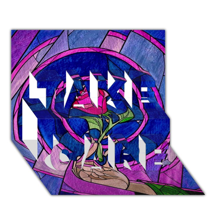Enchanted Rose Stained Glass TAKE CARE 3D Greeting Card (7x5)