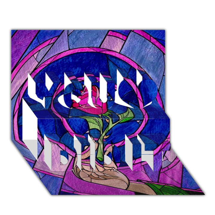 Enchanted Rose Stained Glass You Did It 3D Greeting Card (7x5)
