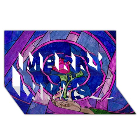 Enchanted Rose Stained Glass Merry Xmas 3D Greeting Card (8x4)