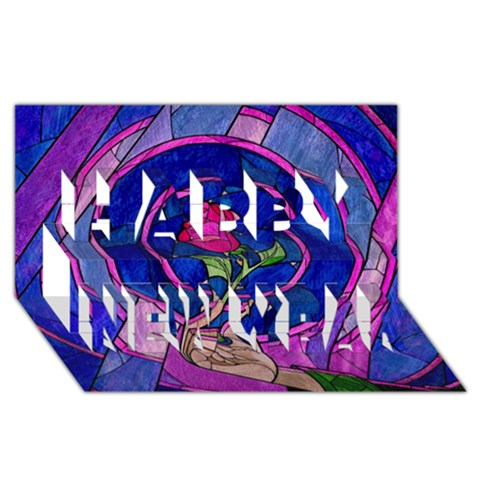 Enchanted Rose Stained Glass Happy New Year 3D Greeting Card (8x4)