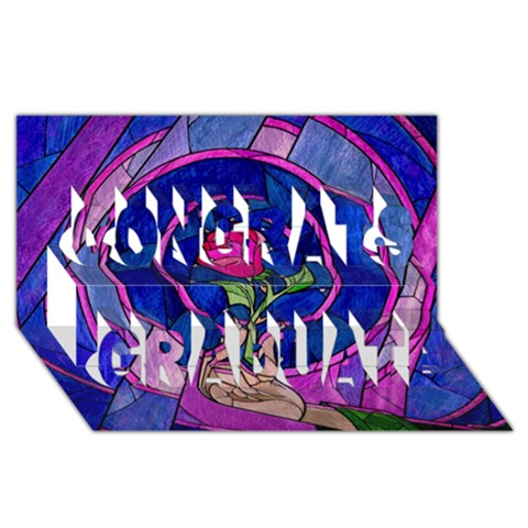 Enchanted Rose Stained Glass Congrats Graduate 3D Greeting Card (8x4)