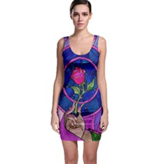 Enchanted Rose Stained Glass Sleeveless Bodycon Dress