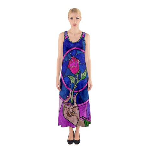 Enchanted Rose Stained Glass Sleeveless Maxi Dress
