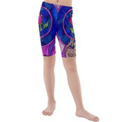 Enchanted Rose Stained Glass Kids  Mid Length Swim Shorts