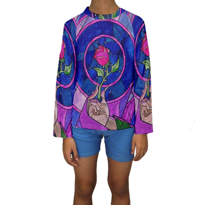 Enchanted Rose Stained Glass Kids  Long Sleeve Swimwear